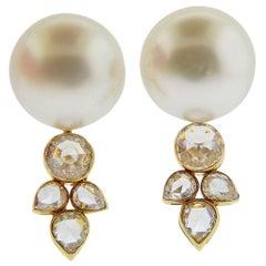 Prince Dimitri Diamond South Sea Pearl Gold Earrings