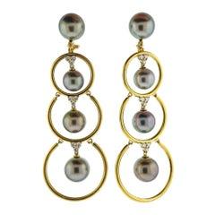 Prince Dimitri Diamond Tahitian Pearl Gold Drop Earrings