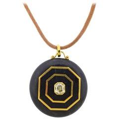 Prince Dimitri Diamond Wood Gold Pendant Cord Necklace