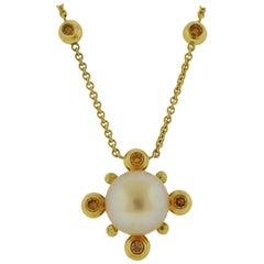 Prince Dimitri Fancy Diamond South Sea Pearl Pendant Necklace