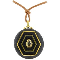 Prince Dimitri Fancy Diamond Wood Gold Pendant Cord Necklace