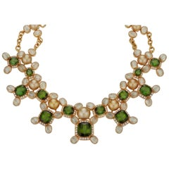Prince Dimitri for Assael Green Tourmaline Pearl, Diamond and Multi Gem Necklace