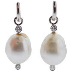 Prince Dimitri Gold Diamond Baroque Pearl Earrings