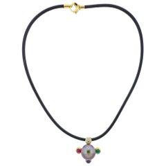 Prince Dimitri Gold Diamond Ruby Emerald Sapphire Pearl Pendant Necklace