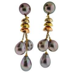 Prince Dimitri Gold Tahitian Pearl Drop Earrings