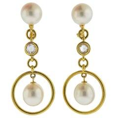 Prince Dimitri Rose Cut Diamond South Sea Pearl Gold Drop Earrings