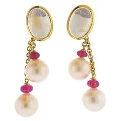 Prince Dimitri Ruby Moonstone South Sea Pearl Gold Drop Earrings