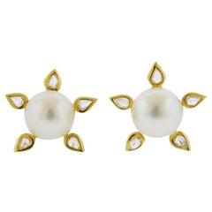 Prince Dimitri South Sea Pearl Diamond Gold Earrings