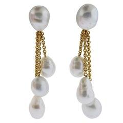 Prince Dimitri South Sea Pearl Gold Drop Earrings