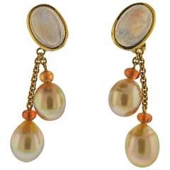 Prince Dimitri South Sea Pearl Moonstone Citrine Gold Earrings