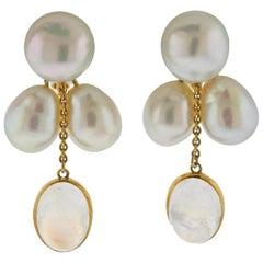 Assael Prince Dimitri South Sea Pearl Moonstone Gold Drop Earrings