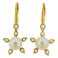 Prince Dimitri South Sea Pearl Rose Cut Diamond Gold Earrings