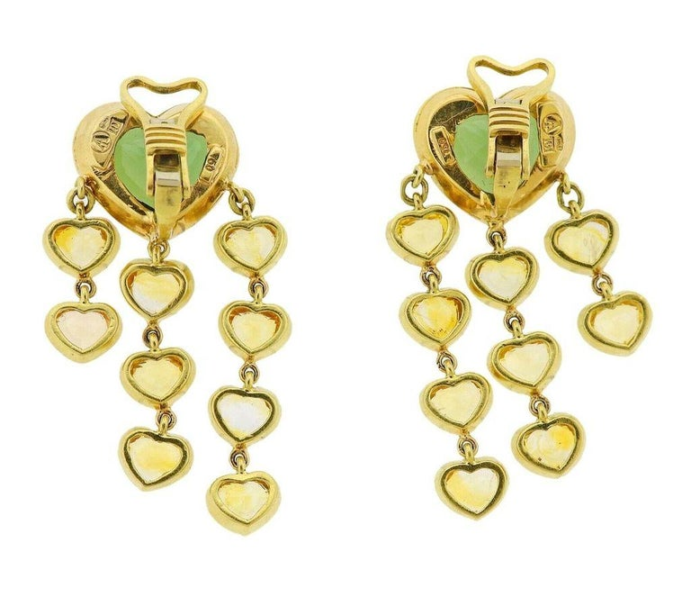 Prince Dimitri Tourmaline Yellow Sapphire Gold Earrings In Excellent Condition For Sale In Boca Raton, FL
