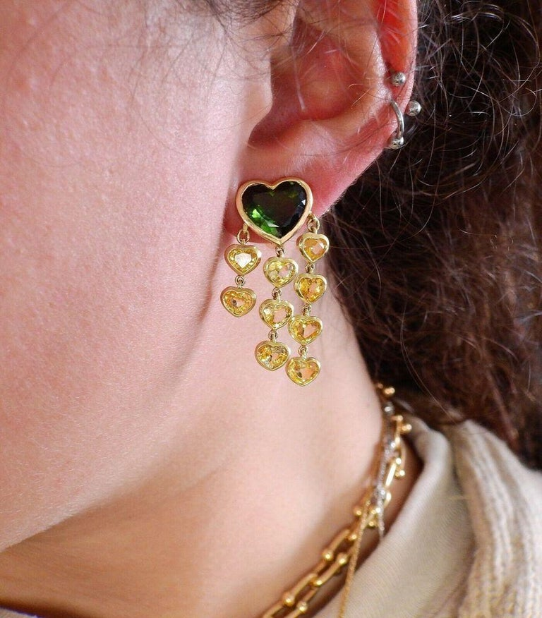 Prince Dimitri Tourmaline Yellow Sapphire Gold Earrings For Sale 1