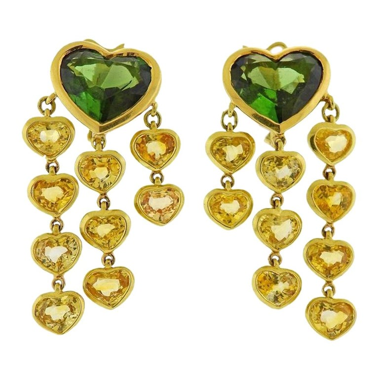 Prince Dimitri Tourmaline Yellow Sapphire Gold Earrings For Sale