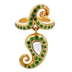 Prince Dimitri Tsavorite and Rose-Cut Diamond Charm Ring in 20 Karat Yellow Gold