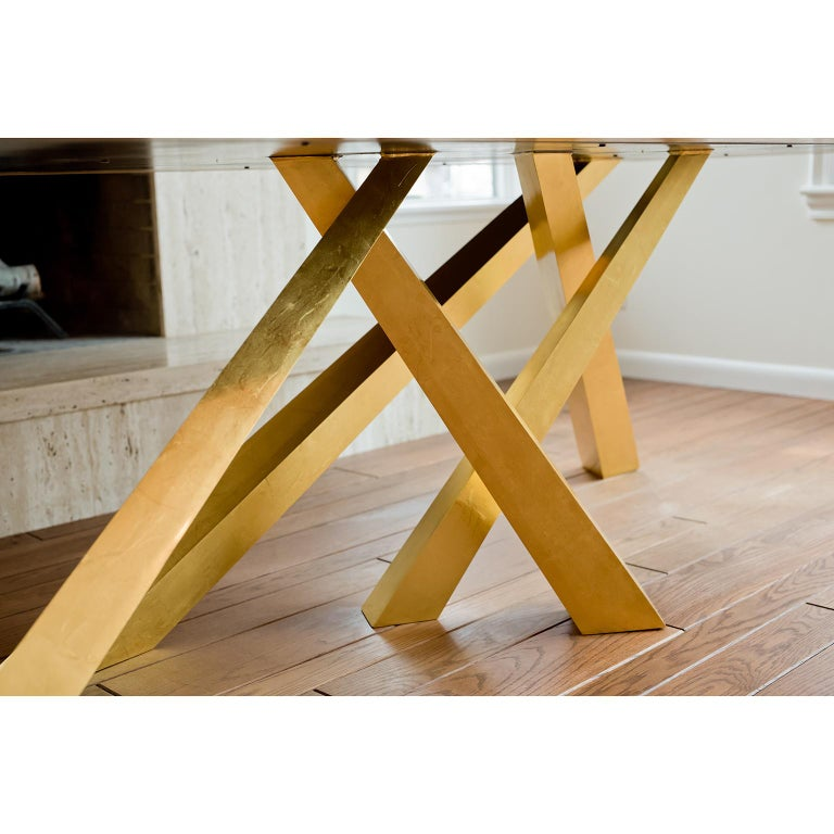 Modern Prince Dining Table, Contemporary, Rosewood and Gold Leaf, by Dean and Dahl For Sale