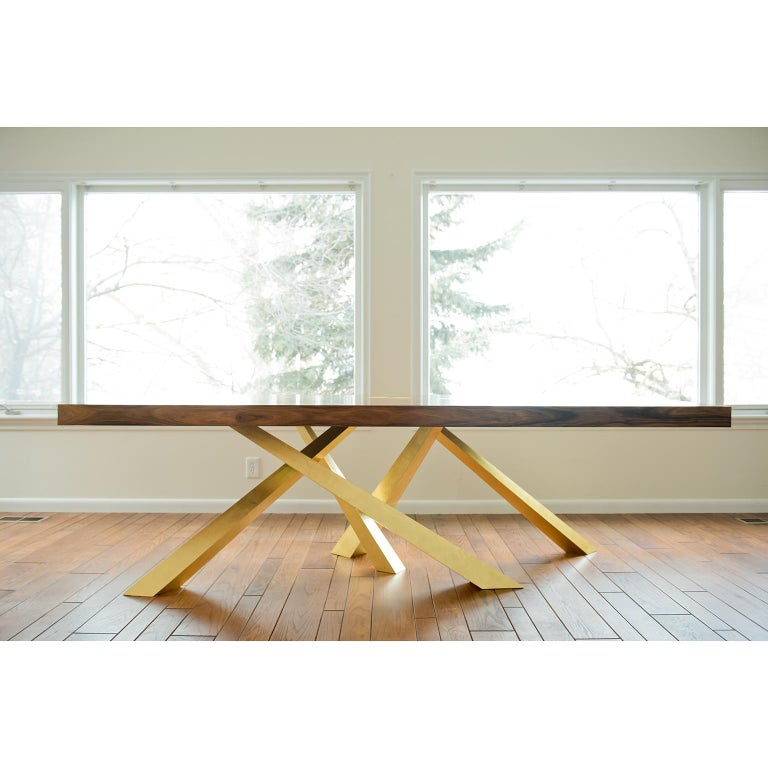 Prince Dining Table, Contemporary, Rosewood and Gold Leaf, by Dean and Dahl In New Condition For Sale In Putnam Valley, NY