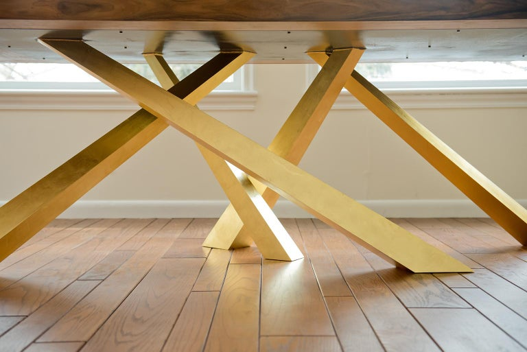 Prince Dining Table, Contemporary, Rosewood and Gold Leaf, by Dean and Dahl For Sale 1