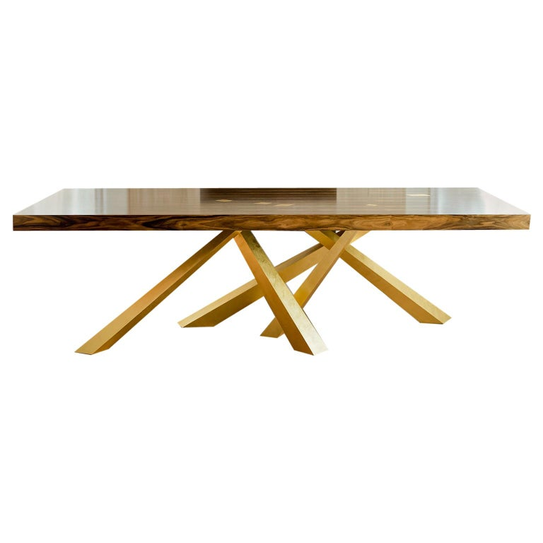 Prince Dining Table, Contemporary, Rosewood and Gold Leaf, by Dean and Dahl For Sale