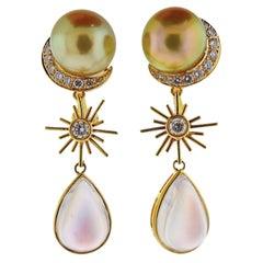 Prince Dimitri South Sea Pearl Moonstone Diamond Gold Drop Earrings