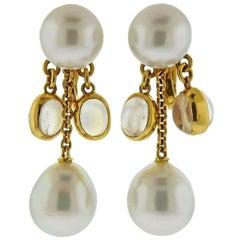 Prince Dimitri South Sea Pearl Moonstone Gold Drop Earrings