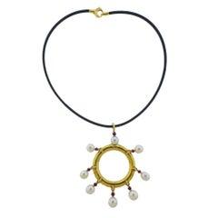 Prince Dimitri South Sea Pearl Ruby Gold Pendant Cord Necklace