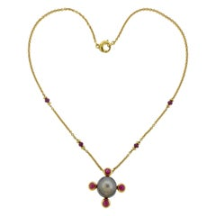 Prince Dmitri Tahitian Pearl 4.27 Carat Ruby Gold Pendant Necklace