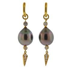 Prince Dimitri Tahitian Pearl Diamond Gold Drop Earrings