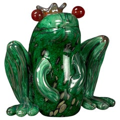Prince Frog color Green, in Glass, Italy