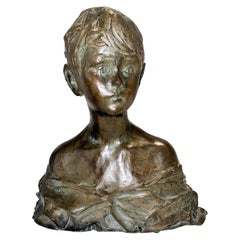 Prince Paolo Troubetzkoy, Bust of a Boy, Impressionist Bronze Sculpture, 1915