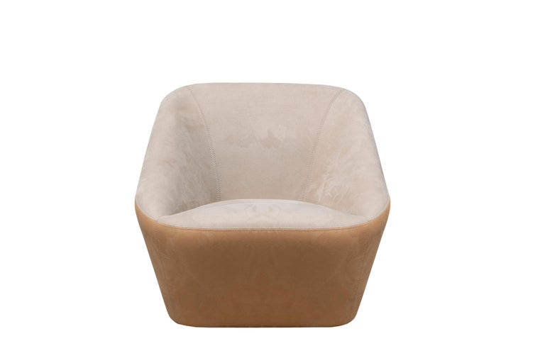 Modern Prince Spencer Armchair with Two-Tone (Beige-Orange) Fabric Upholstery For Sale