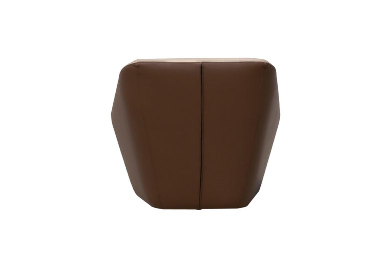 Modern Prince Spencer Armchair with Two-Tone (Beige-Brown) Italian Leather Upholstery For Sale