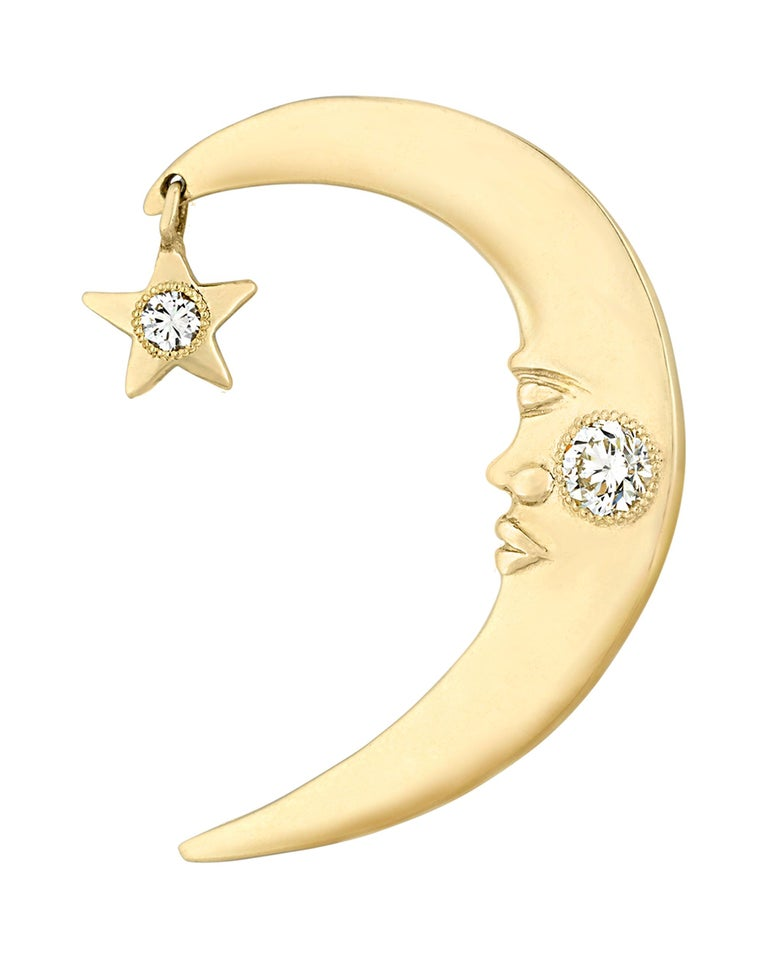 Modern Prince's Gold and Diamond Crescent Moon Ear Cuff For Sale