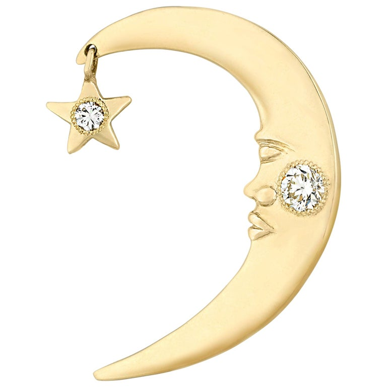 Prince's Gold and Diamond Crescent Moon Ear Cuff For Sale