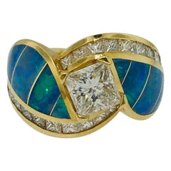 Princess 1.00 Carat Diamond and Opal Inlay Mele Ring with Diamond Accents in 18K