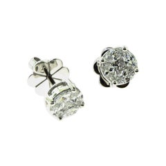 Princess and Marquise Diamond Round 18 Karat White Gold Stud Earrings