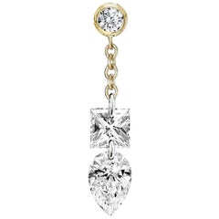 Princess and Pear Diamond Floating Chain Stud , Gold, Ben Dannie