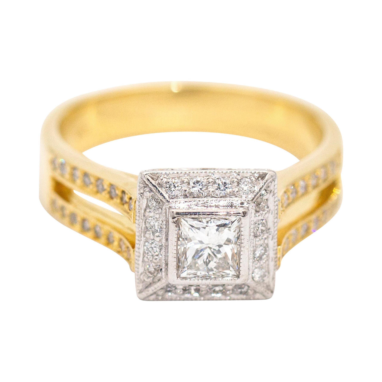 Princess and Round Diamond Cluster Halo Diamond 18 Carat Gold Engagement Ring