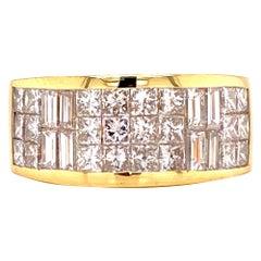 Princess & Baguette Diamond Invisibly Set Wedding Anniversary Band Ring
