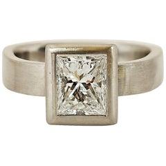 Princess Cut 0.95 Carat Diamond Modern Platinum Ring