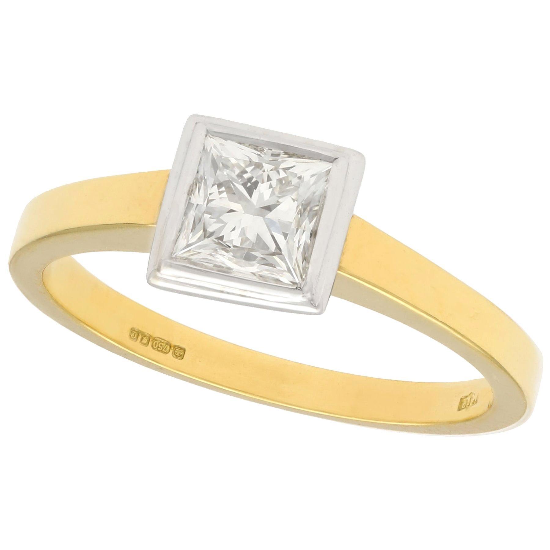 Princess Cut 1.10 Carat Diamond Yellow Gold Solitaire Engagement Ring