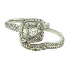Princess Cut and Baguette Halo Round Diamond Gold 2-Piece Bridal Set Ring