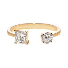 Princess Cut and Round Cut Diamond Open Engagement Mixed Cuff Minimalist Ring