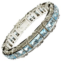 Princess Cut Blue Topaz and Diamonds Gold Bracelet, Italy
