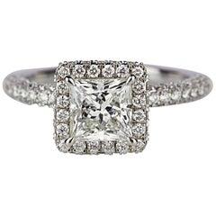 Princess Cut Center Stone Diamond Studded Shank Ring in 18 Karat White Gold