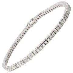 Princess Cut Channel Set Diamond Tennis Bracelet in 18 Karat White Gold 5 Carat