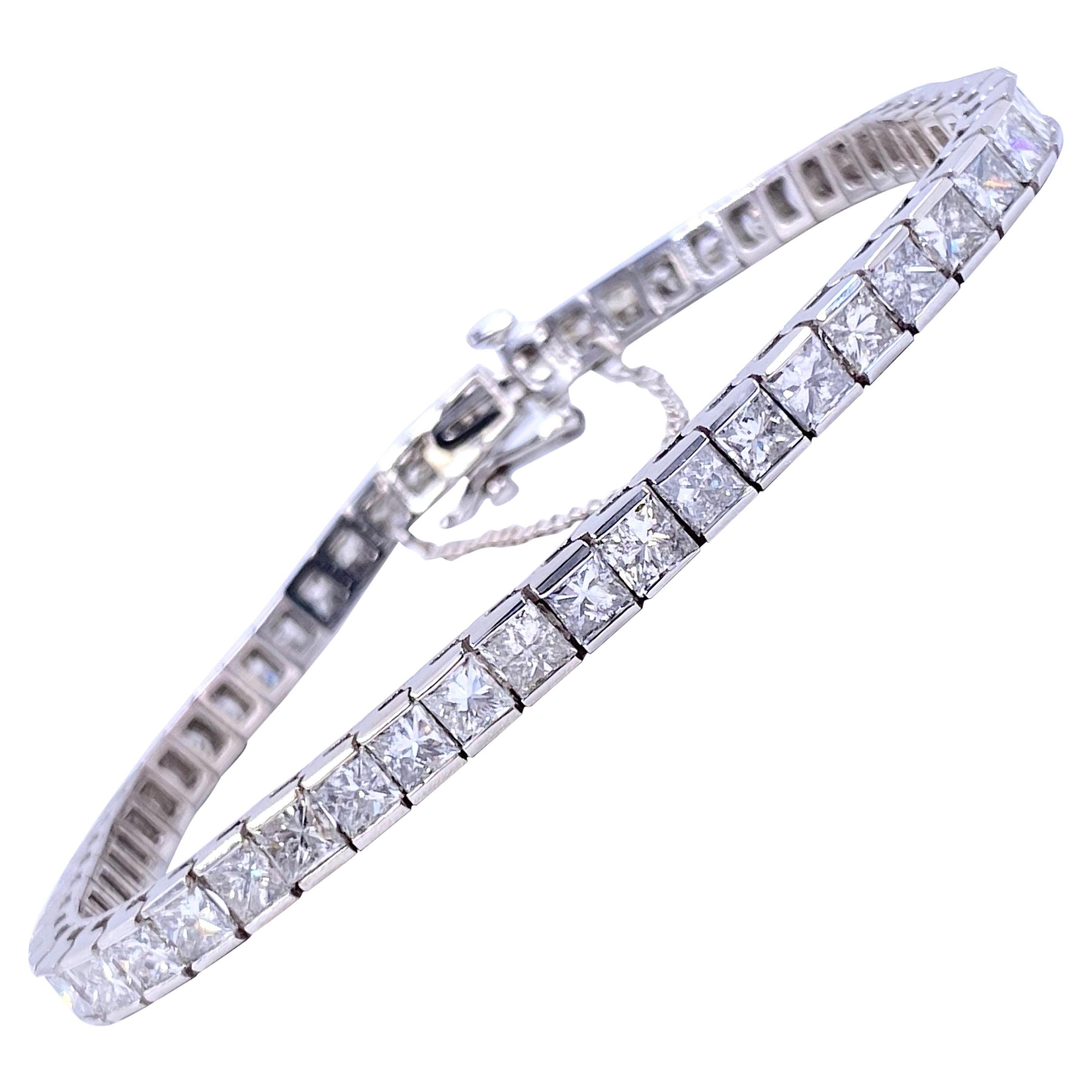 Princess Cut Diamond 12.00 Carat Tennis Bracelet 14 Karat White Gold