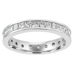 Princess Cut Diamond 14 Karat White Gold Bridal Eternity Band Ring