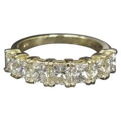 Princess Cut Diamond 2.30 Carat Wedding Ring in 18 Karat Yellow Gold